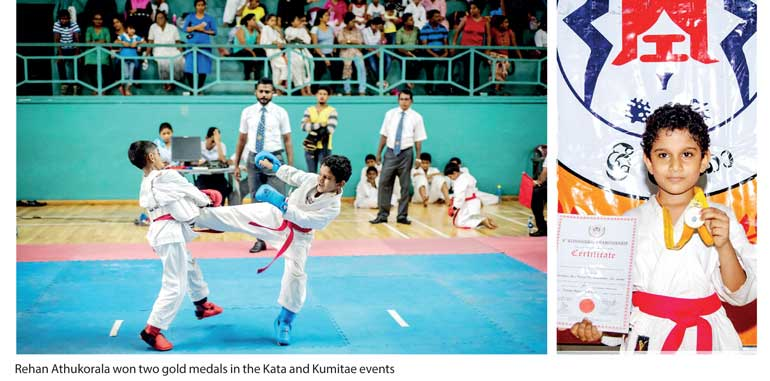 Young Athukorala wins two karate gold medals