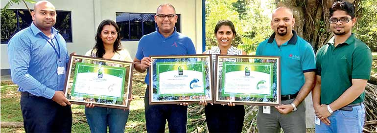 From left: Kanishka Jayasinghe  CCC, Linea Aqua Executive Sustainability  Mega Ganeshan, Linea Aqua Managing Director Sarinda Unamboowe, ...