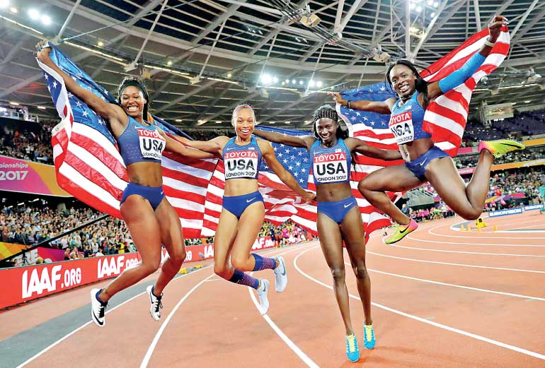 Us Reclaim 4x100m World Title Britain Take Silver Ft Online